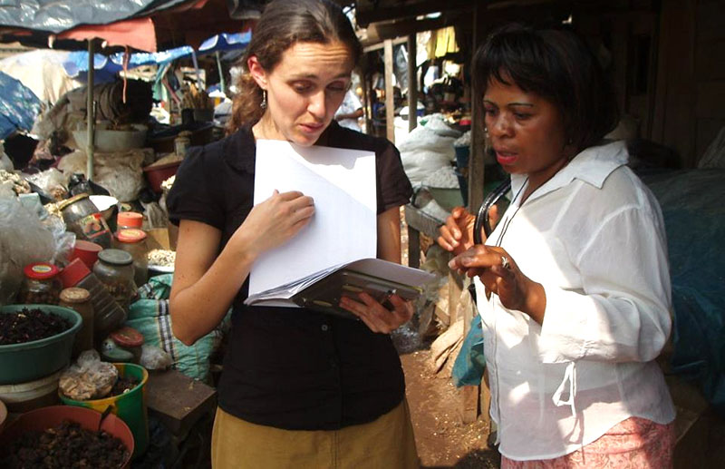 Reina Engle-Stone with Lucienne Nyangono from Helen Keller International. In 2009, Engle-Stone was part of a team of researchers that collected data on dietary intakes in the different regions of Cameroon in West Africa.