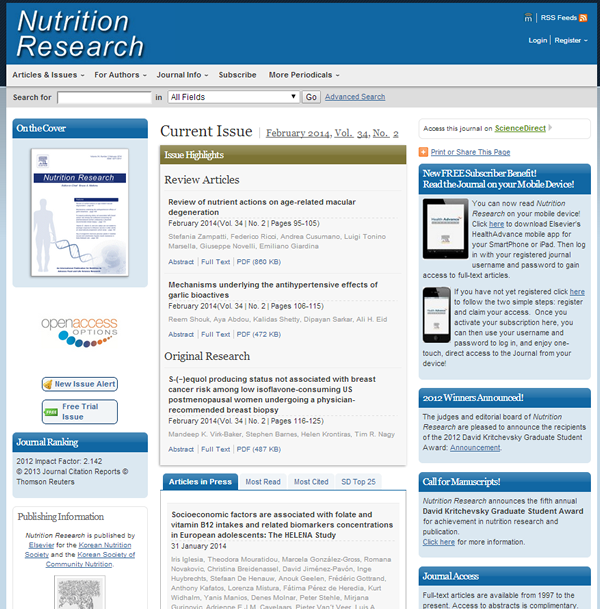 Nutrition Research Journal