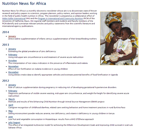 Nutrition News for Africa