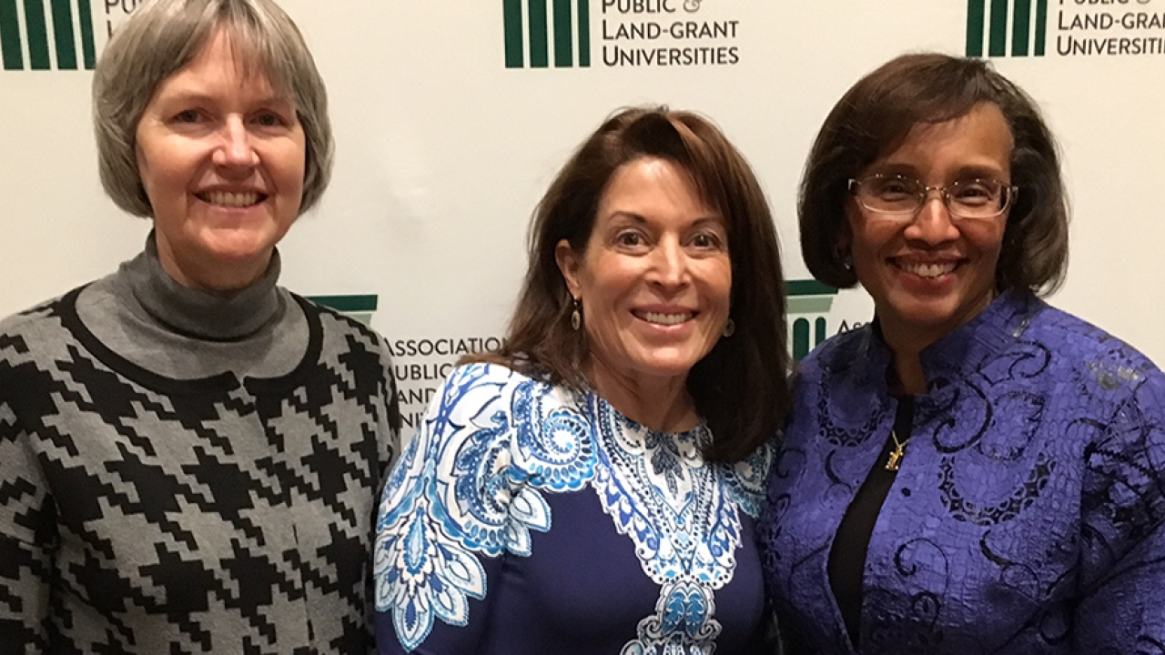 Susan Ebeler, Liz Applegate, and Dean Helene Dillard at award ceremony